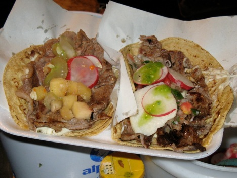 Steak and cheese tacos with salsa